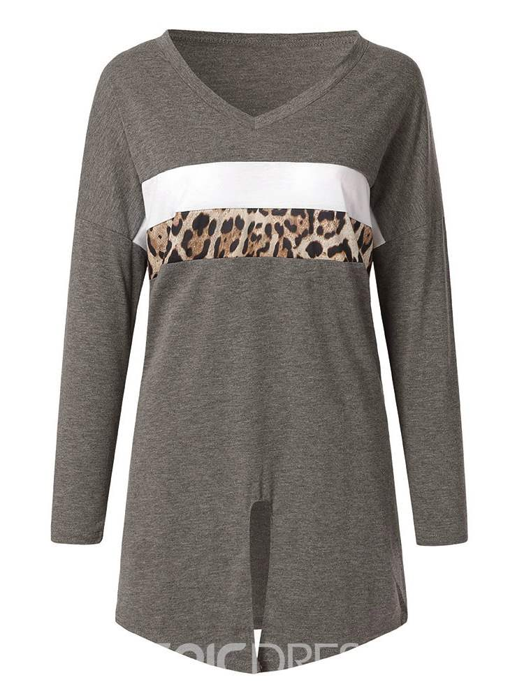 Ericdress Long Sleeve V-Neck Leopard Casual Loose T-Shirt