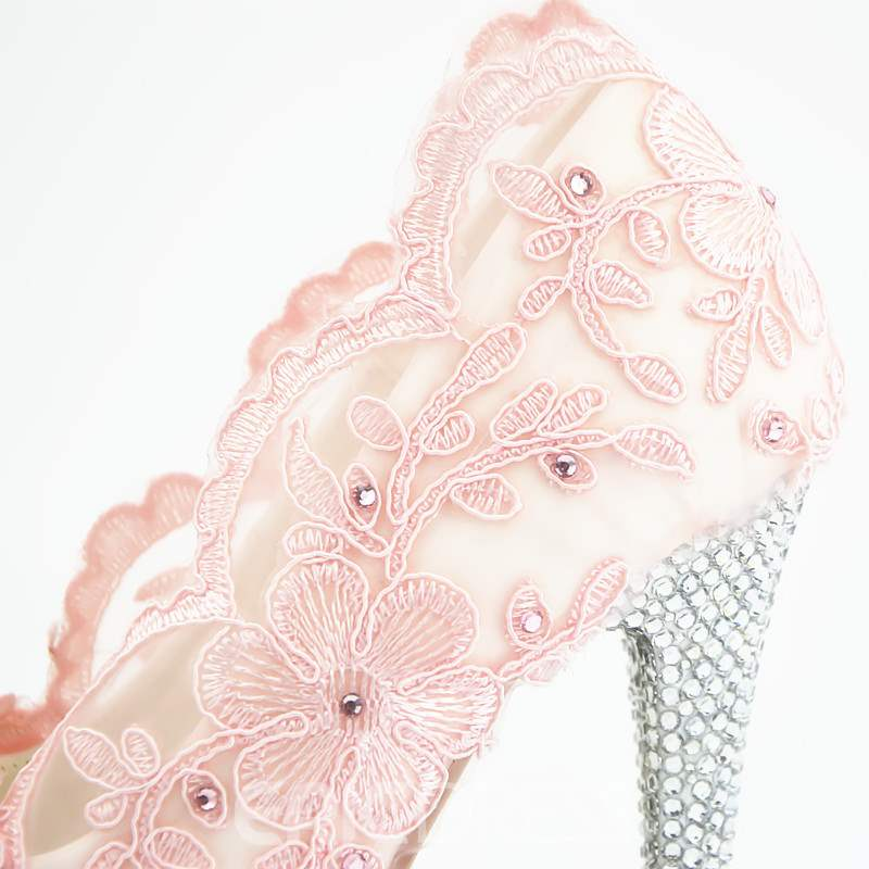 Ericdress Lace Stiletto Heel Round Toe Wedding Shoes