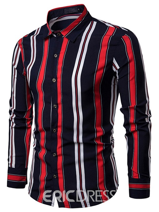 Ericdress Vertical Striped Single-Breasted Mens Casual Shirt