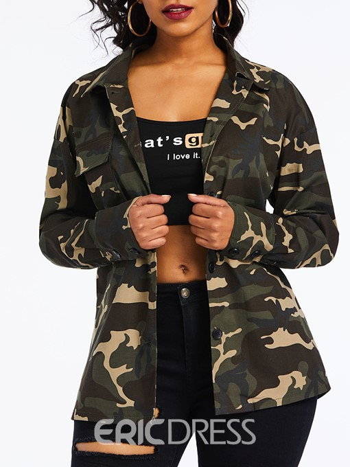 Ericdress Camouflage Lapel Print Long Sleeve Mid-Length Blouse
