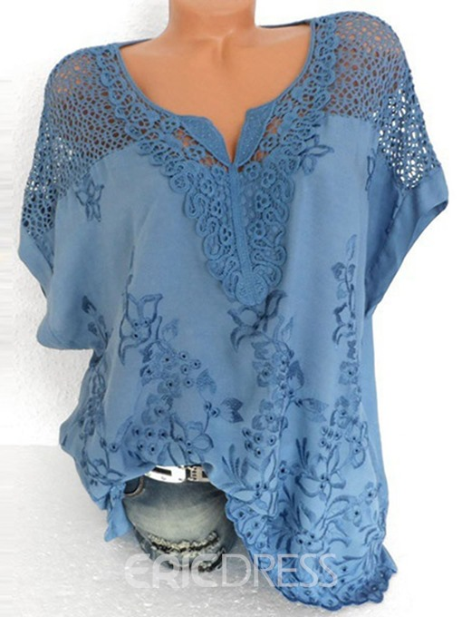 Ericdress V-Neck Lace Short Sleeve Mid-Length Blouse