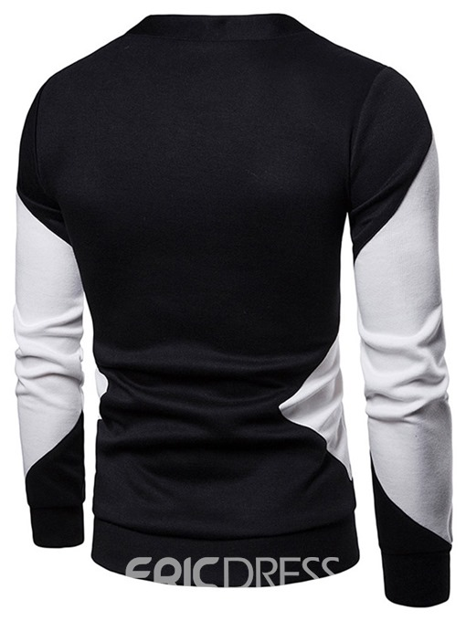 Ericdress Patchwork Color Block Single-Breasted Mens Casual Sweater