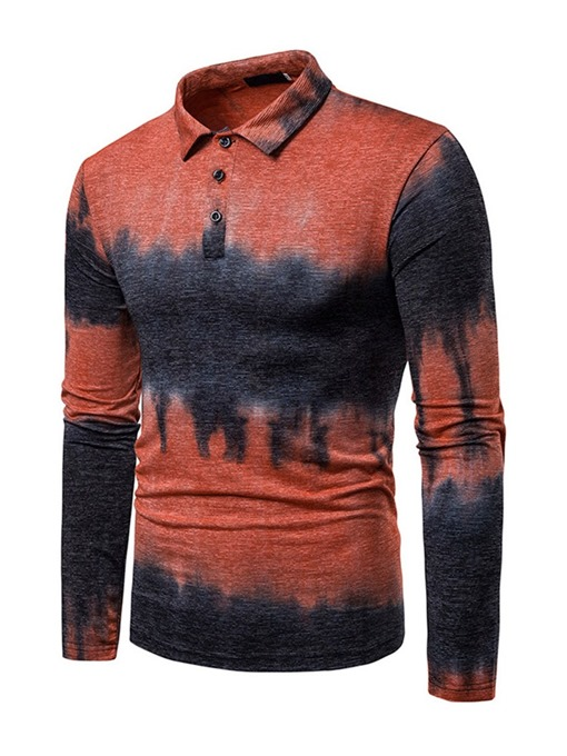 Ericdress Printed Color Block Mens Casual Polo Shirt
