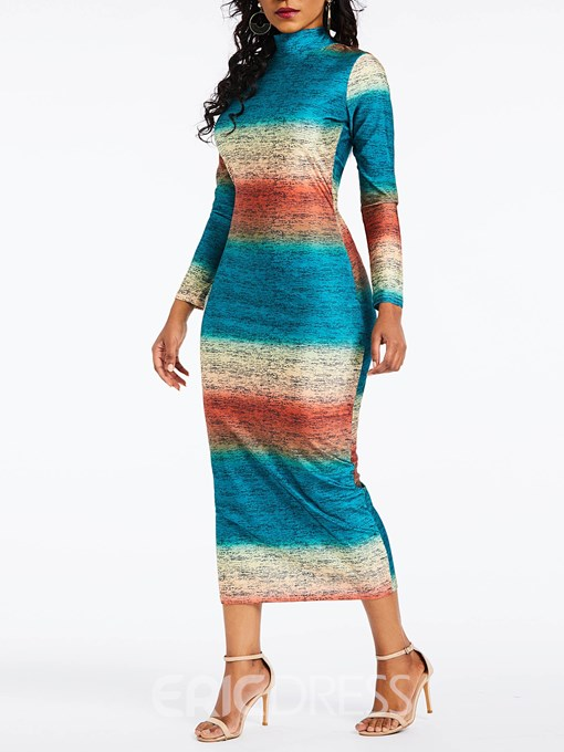 Ericdress Long Sleeve Mid-Calf Bodycon Stripe Dress