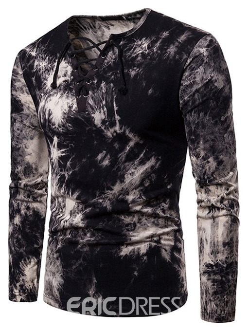 Ericdress Printed Lace-Up Mens Straight T-shirt
