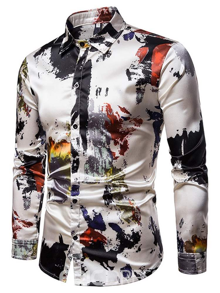Ericdress Print Colorful Button Up Single-Breasted Mens Casual Shirt
