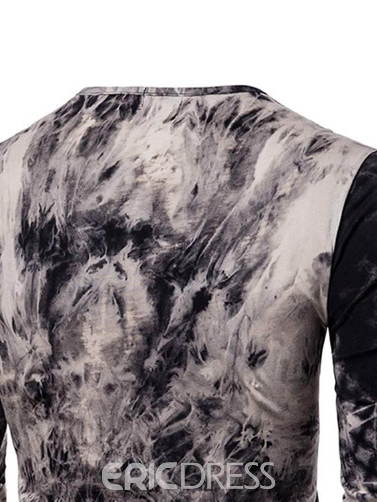 Ericdress Printed Lace-Up Long Sleeve Mens Straight T-shirt