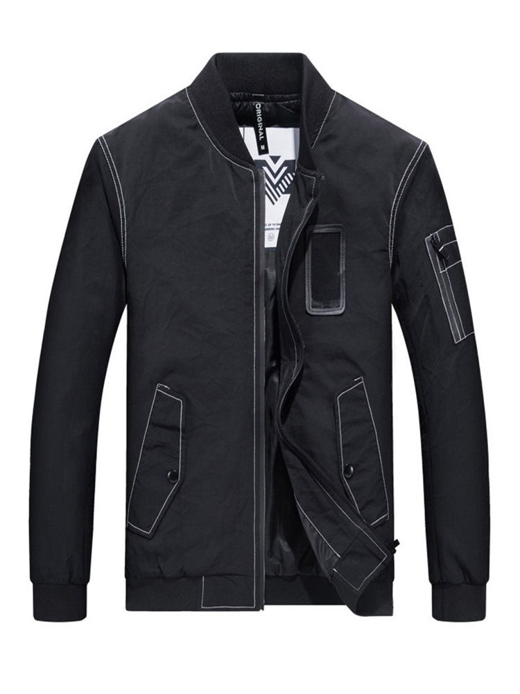 Ericdress Plain Stand Collar Straight Mens Spring Jacket