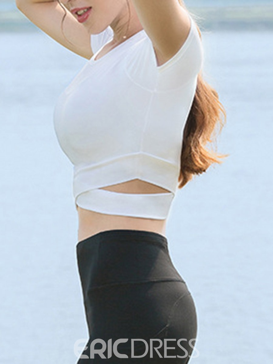 Ericdress Solid Breathable Pullover Sport Tops