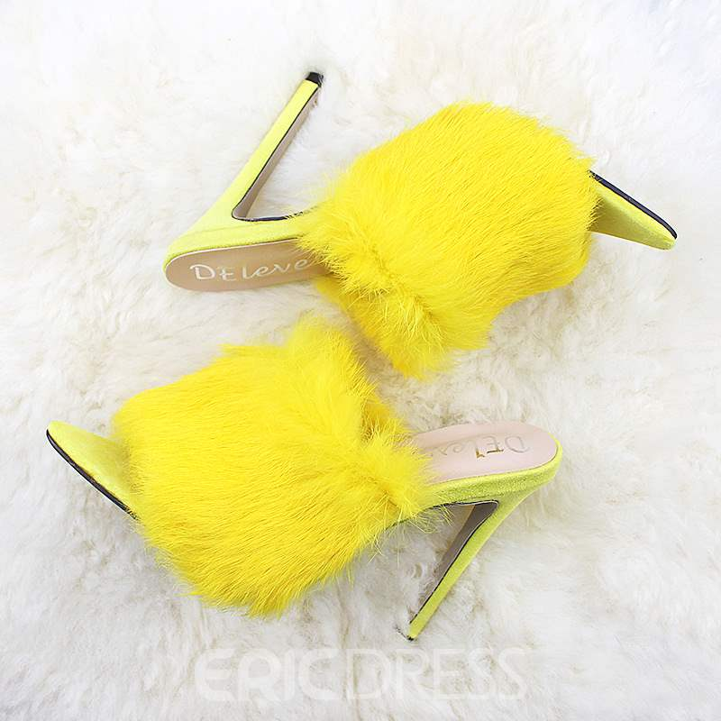 Ericdress Faux Fur Flip Flop Stiletto Heel Women's Mules Shoes