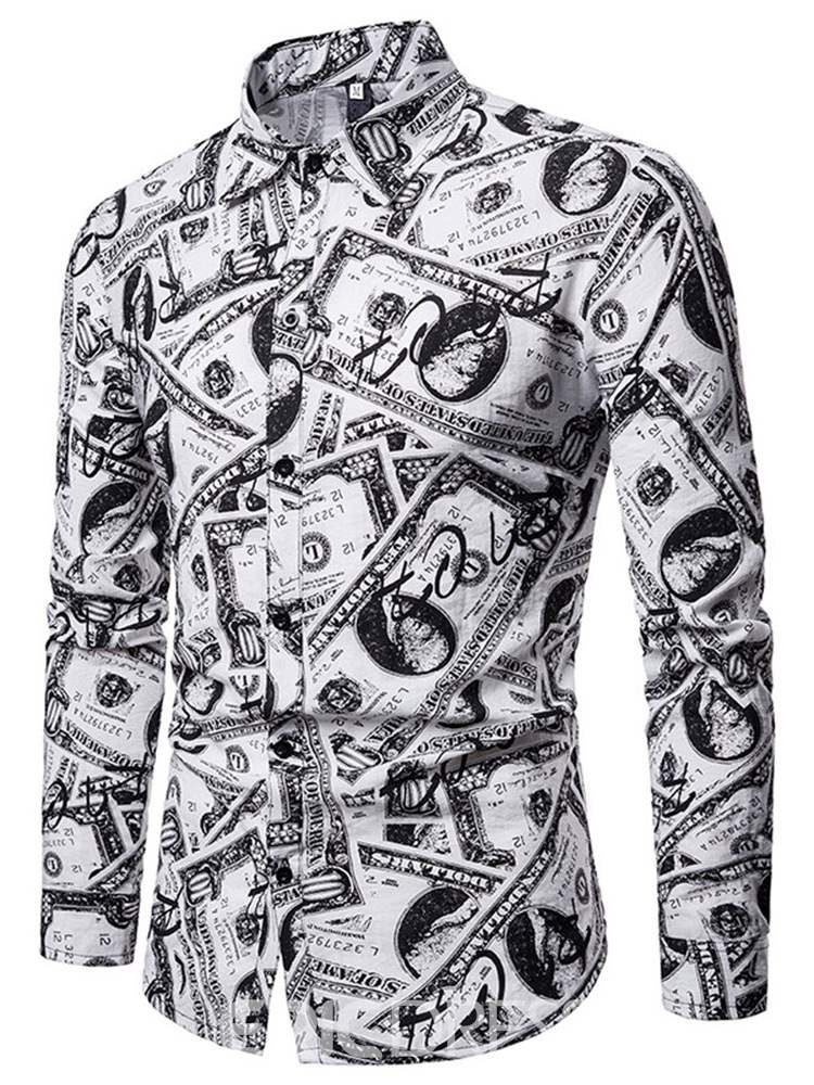 Ericdress Letter Printed Lapel Single-Breasted Mens Casual Shirt