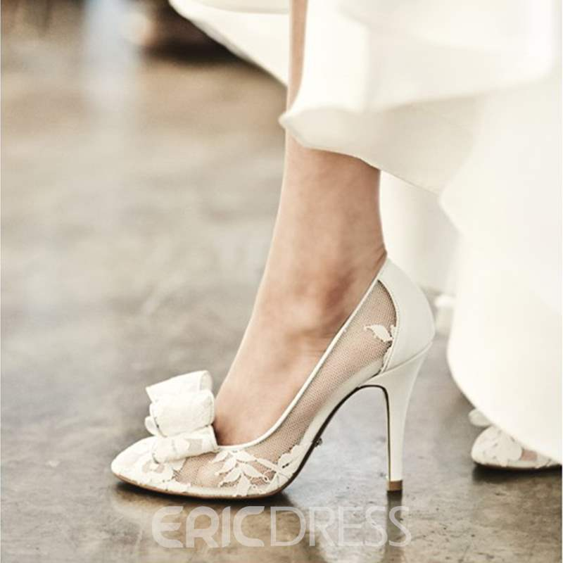 Ericdress Lace Pointed Toe Stiletto Heel Wedding Shoes