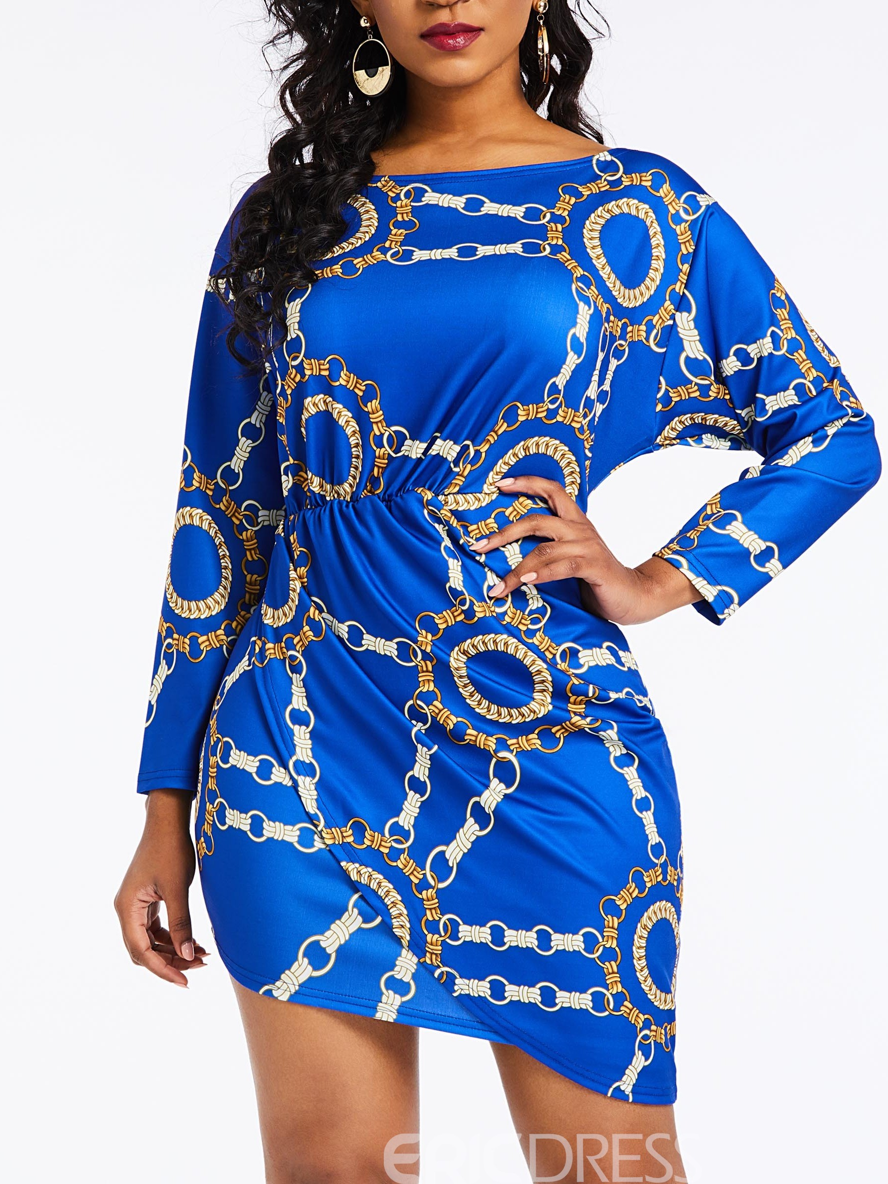 Ericdress Long Sleeve Above Knee Print Bodycon Dress