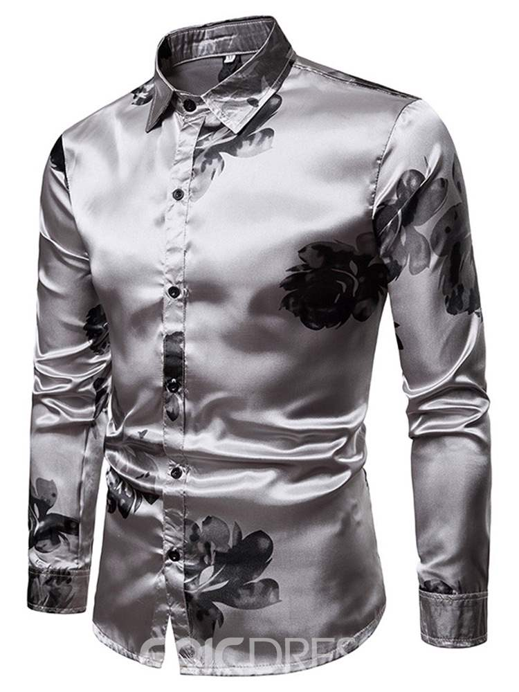Ericdress Floral Printed Lapel Single-Breasted Mens Party Casual Shirt