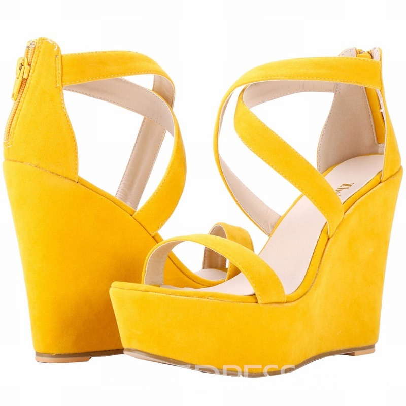 Ericdress Faux Suede Wedge Heel Zipper Women's Sandals