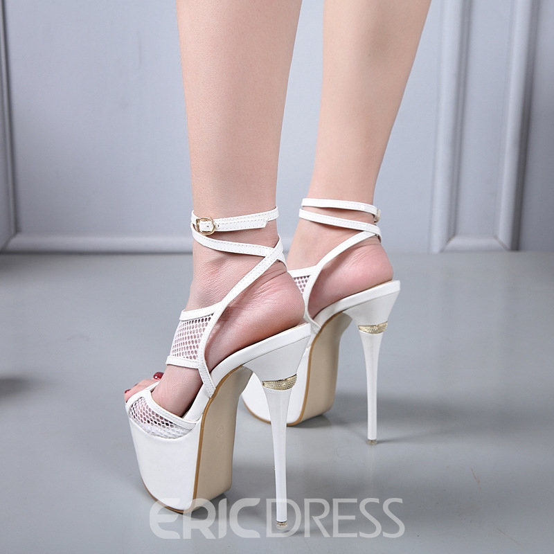 Ericdress Plain Strappy Stiletto Heel Open Toe Platform Women's Sandals