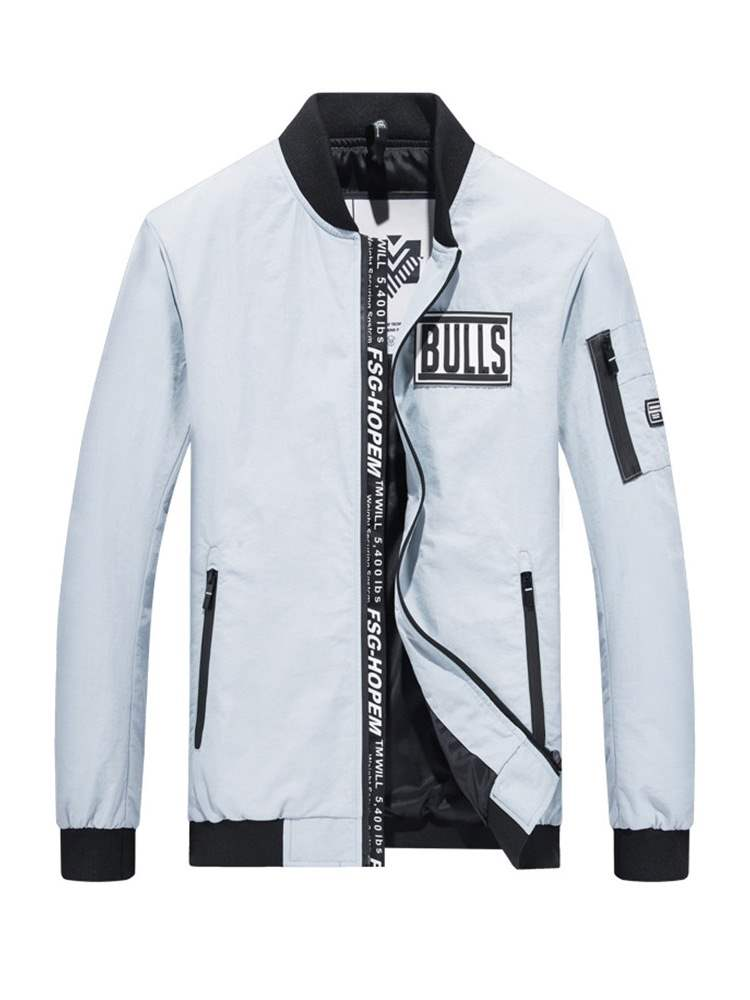 Ericdress Letter Printed Stand Collar Mens Casual Jacket