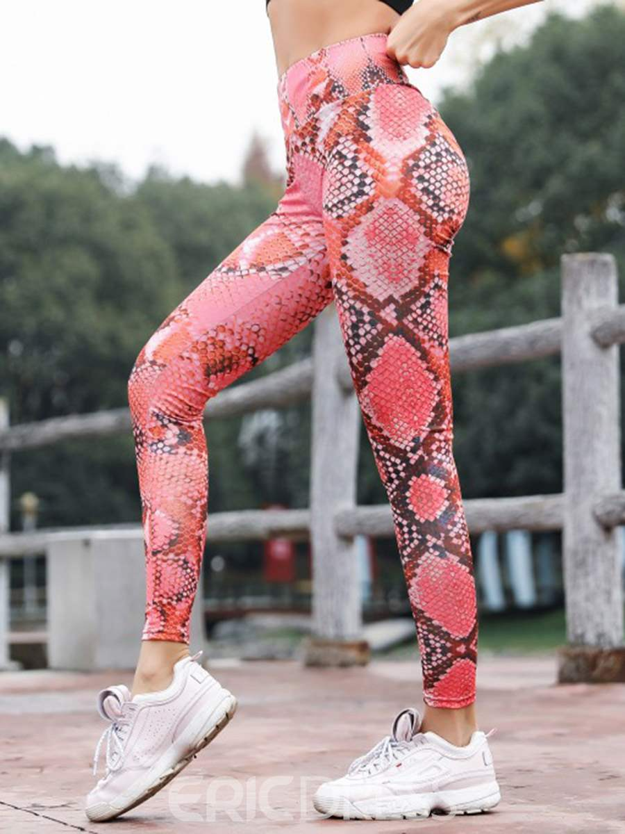 Ericdress Print Anti-Sweat Serpentine Gym Sport Leggings Yoga Pants High Waist Tiktok Leggings