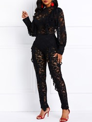 Ericdress Ruffles Lace See-Through Patchwork Party Womens Jumpsuit