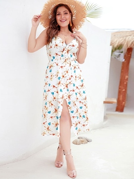 Ericdress Plus Size Sleeveless V-Neck Print Sexy A-Line Dress