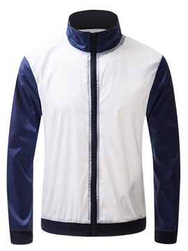 Ericdress Patchwork Stand Collar Mens Zipper Casual Sports Jacket