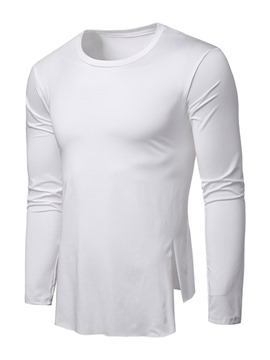 Ericdress Plain Round Neck Asymmetric Mens Loose T-shirt