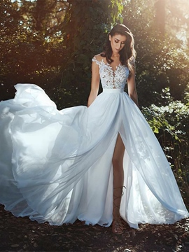A-Line Appliques Cap Sleeves Outdoor Wedding Dress
