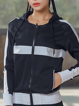 Ericdress Patchwork Anti-Sweat Color Block Zipper Sport Tops