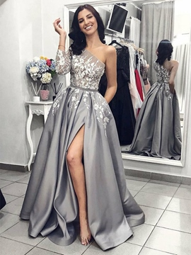 One Shoulder Long Sleeves A-Line Evening Dress