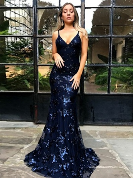 Floor-Length Sleeveless Sequins Evening Dress