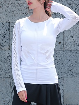 Ericdress Solid Patchwork Quick Dry Long Sleeve Pullover Sport Tops
