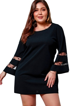 Ericdress Plus Size Nine Points Sleeve Round Neck Above Knee Flare Sleeve A-Line Dress