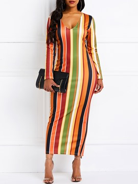 Ericdress V-Neck Long Sleeve Mid-Calf Stripe Dress