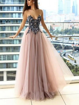 Floor-Length Scoop Beading A-Line Evening Dress