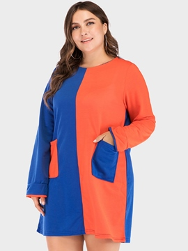 Ericdress Plus Size Pocket Long Sleeve Above Knee Color Block Casual Dress