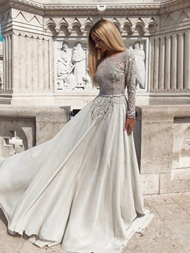 Beading Bateau A-Line Floor-Length Evening Dress
