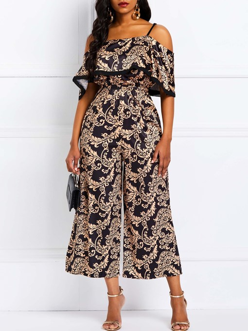 Ericdress Print Patchwork Wide Legs Loose Feather Women's Jumpsuit
