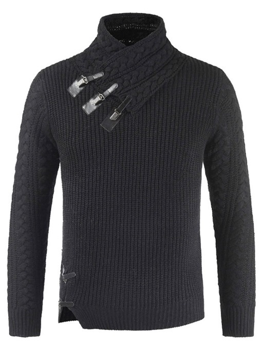 Ericdress Plain Asymmetric Shawl Collar Mens Casual Sweater