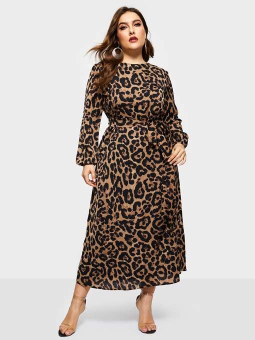 Ericdress Plus Size Lantern Sleeve Going Out Round Neck A-Line Dress
