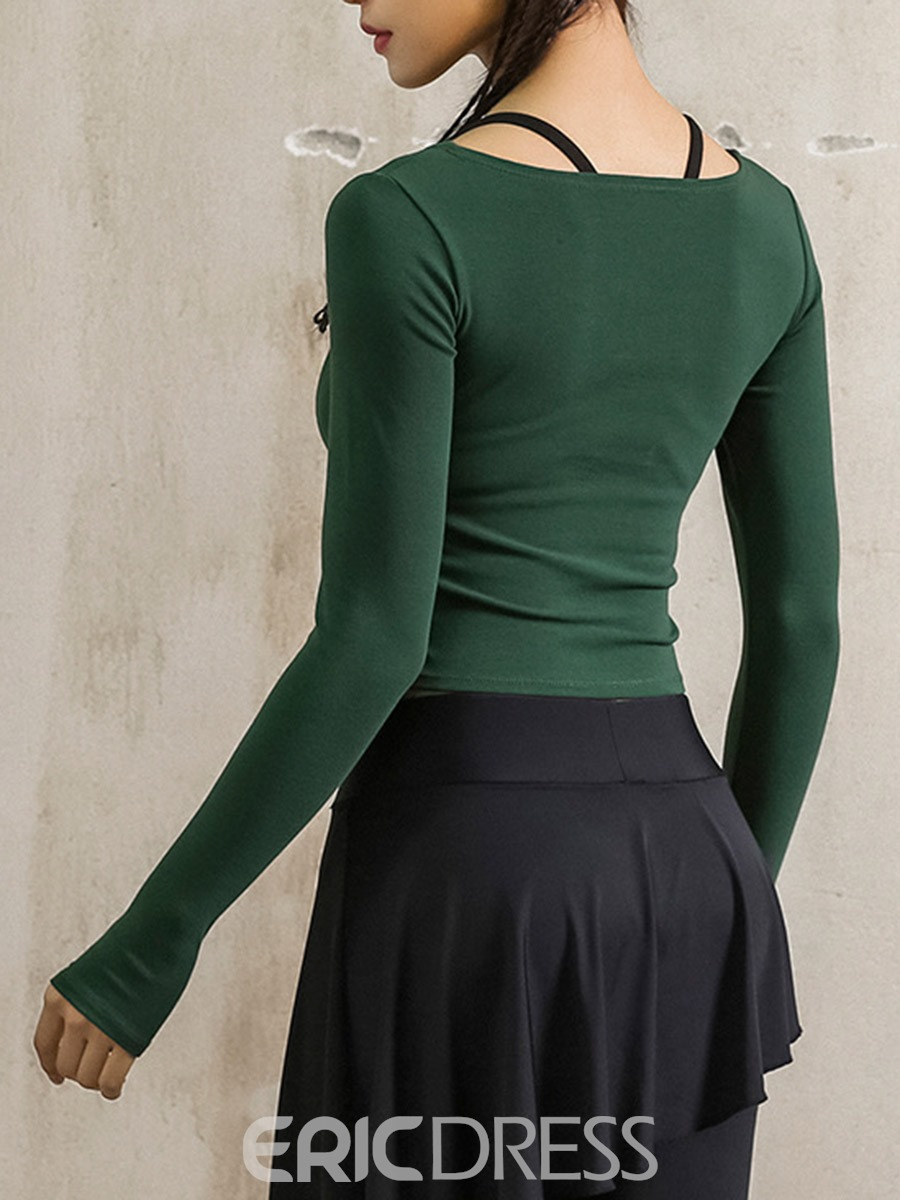 Ericdress Thumbholes Quick Dry Solid Pullover Sport Tops