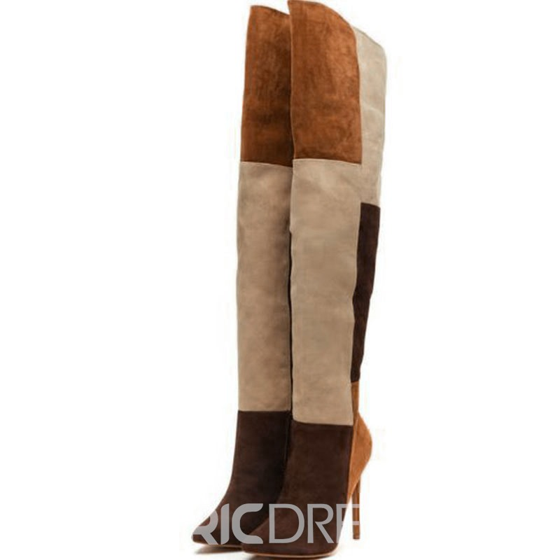 Ericdress Color Block Stiletto Heel Side Zipper Women's Knee High Boots