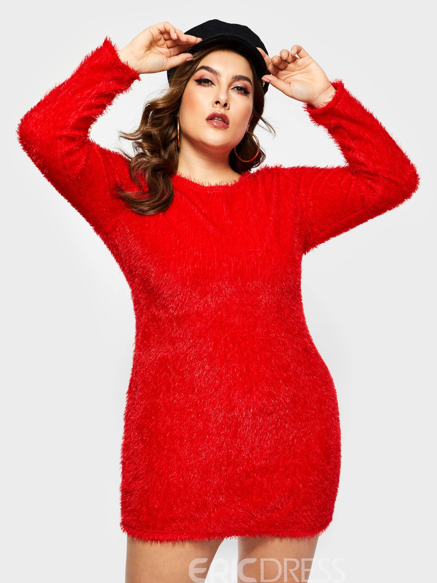 Ericdress Round Neck Long Sleeve Above Knee Plus Size Dress