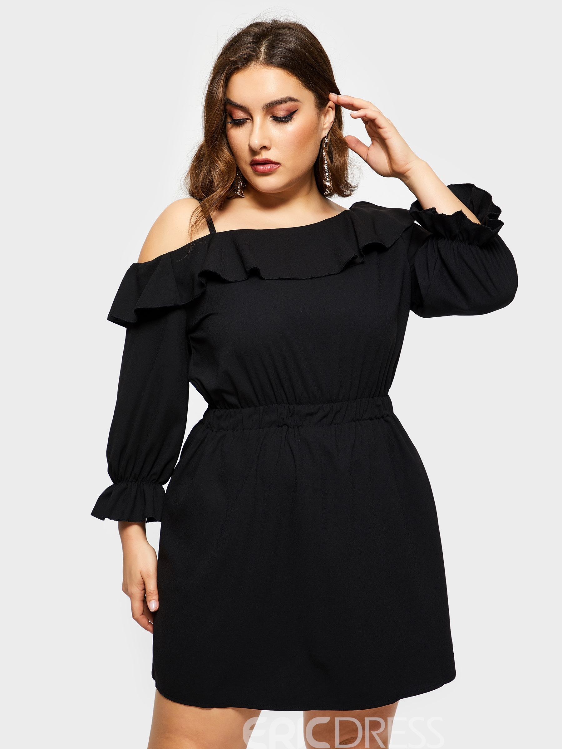 Ericdress Above Knee Off Shoulder Nine Points Sleeve Pullover Plus Size  Dress