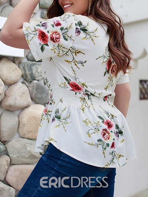 Ericdress V-Neck Floral Print Plus Size Blouse