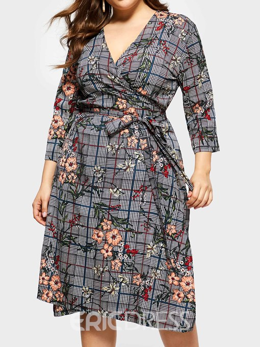 Ericdress Three-Quarter Sleeve Print V-Neck Pullover Date Night Plus Size Dress