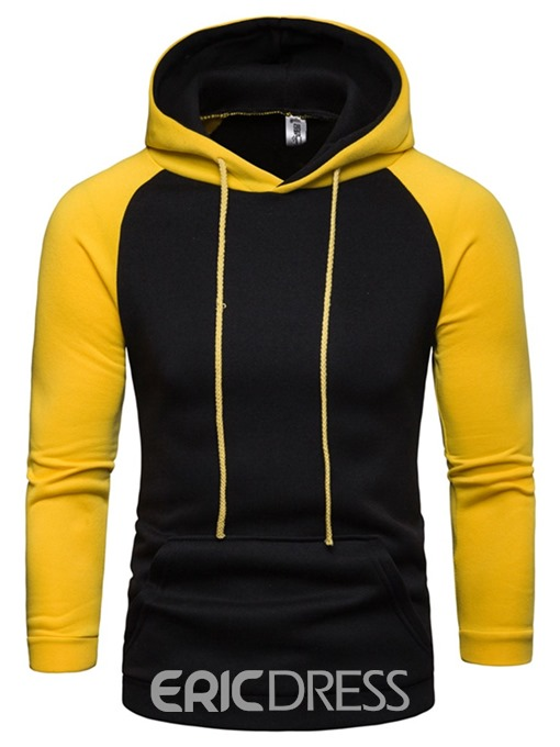 Ericdress Patchwork Color Block Fleece Hooded Mens Casual Hoodies