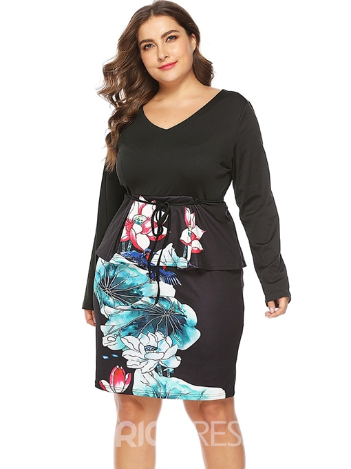 Ericdress Plus Size Print V-Neck Long Sleeve High Waist Casual Dress