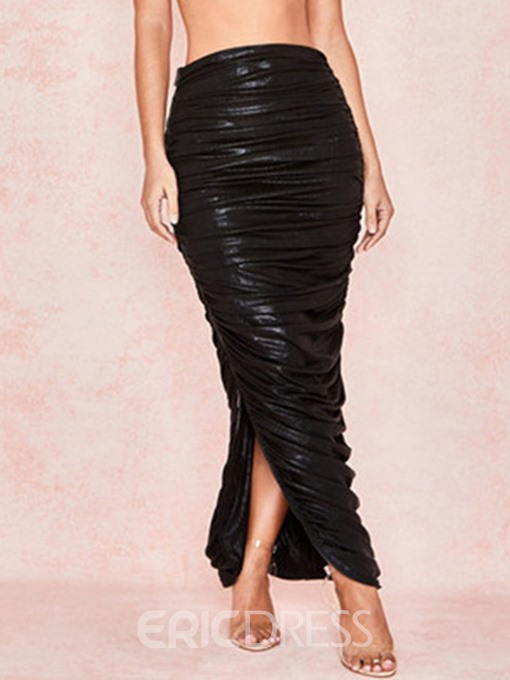 Ericdress Pleated Plain Ankle-Length Sexy High-Waist Skirt