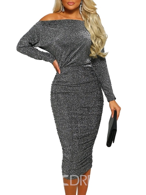 Ericdress Long Sleeve Off-The-Shoulder Bodycon Sexy Dress