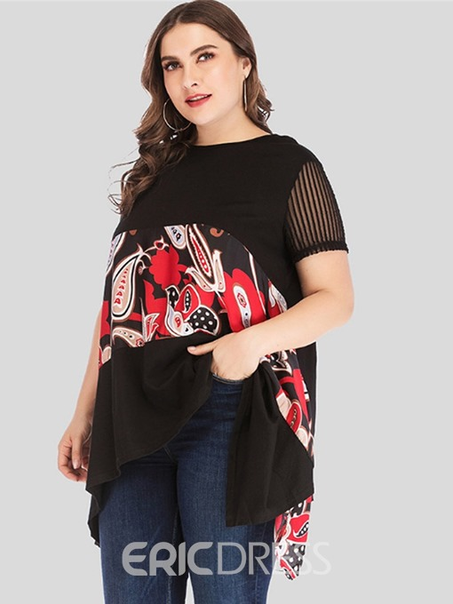 Ericdress Asymmetric Patchwork Print Plus Size T-Shirt